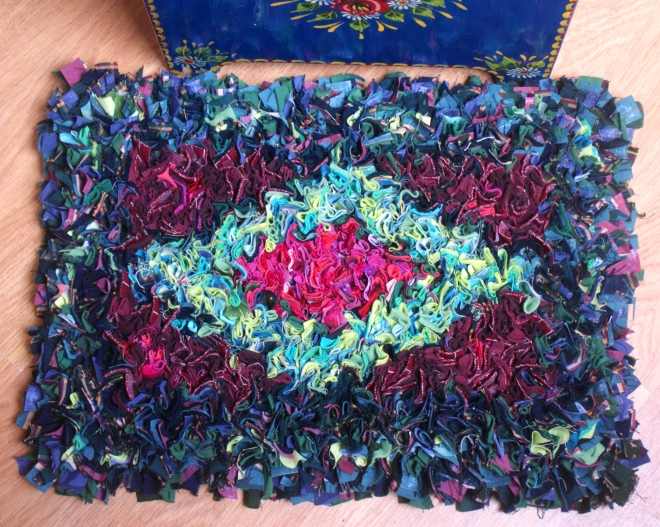 Pink and green diamond proddy rug