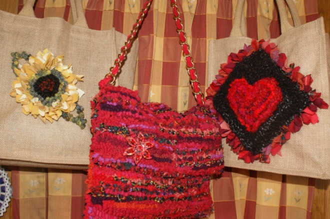 Embellished hessian shoppers No 3 and No. 6 with red rug bag No 8