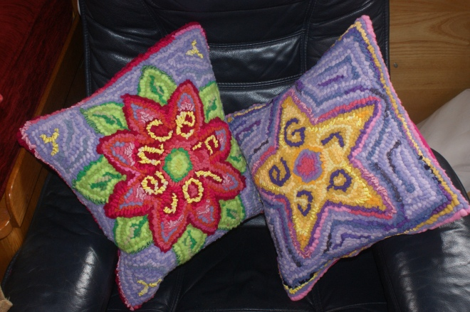 """Florence and Grace""- hooked cushion commission"